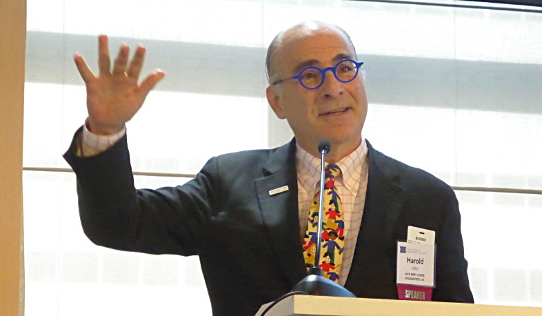 Harold O. Levy presents from the podium gesturing his hand