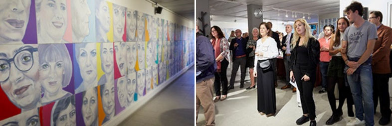 Two photos: (left) art exhibit of colorful women's faces along a wall; (right) guests stand an view the art