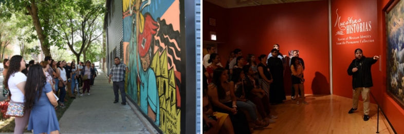 Two photos: (left) students view a mural on an outside wall; (right) a speaker discusses a painting on wall to seated students