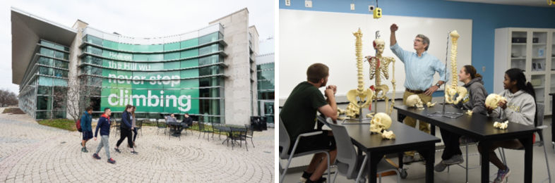 Two photos: (left) outside view of Gill Center; (right) professor works with model of human skeleton with three students