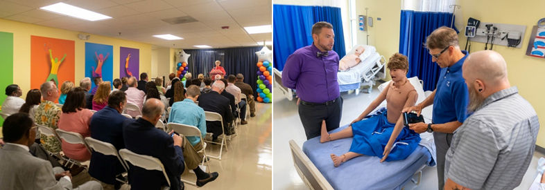 Two photos: 1. A new nursing program is announced from a podium to seated audience; 2. Three people inspect a mannequin patient on a hospital bed