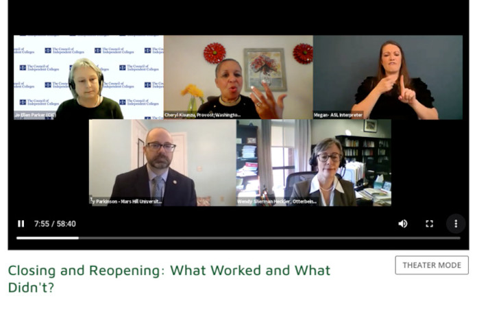 Screen capture of webinar with four speakers and ASL interpreter