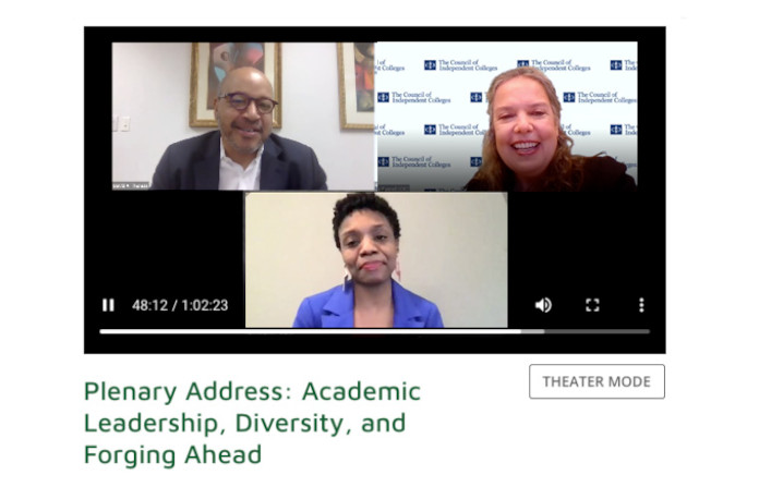Screen capture of webinar with speaker, moderator, and ASL interpreter