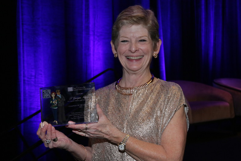 "CIC recognized S. Georgia Nugent, interim president of the College of Wooster (OH) and chair of CIC's liberal arts campaign, with the ""Champion of the Liberal Arts Award"" for her innovative and inspirational leadership on the campaign."