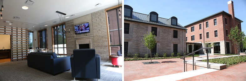 Two photos depicting the inside and outside of the Ott Residential Life District residence halls