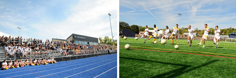 Two photos: (left) audience seated on bleachers in front of track; (right) soccer players kicking soccer balls on a grass field