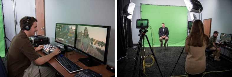Two photos: (left) student seated at video production screens wearing headphones; (right) faculty member sits in front of green screen while a student records from behind video camera