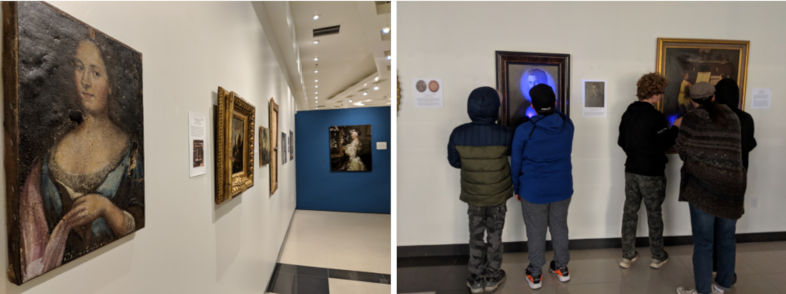 Two photos: 1. portraits hanging on a wall; 2. five students looking at portraits on a wall