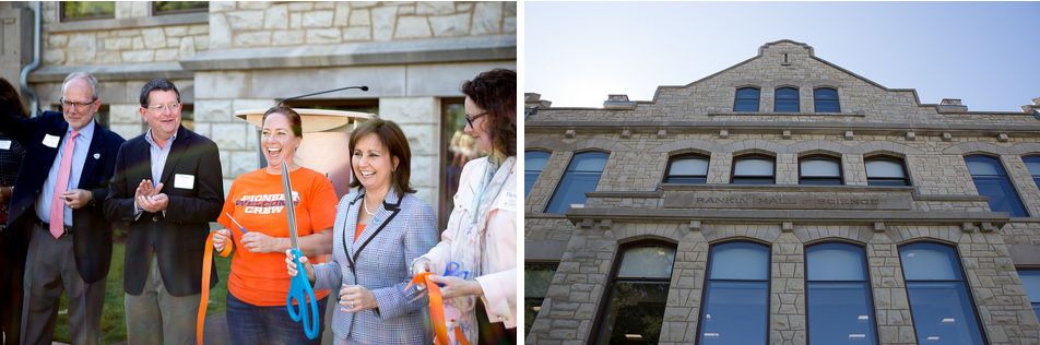 Two photos: 1. College representatives cut a ribbon with large scissors; 2. front view of the renovated Rankin Hall