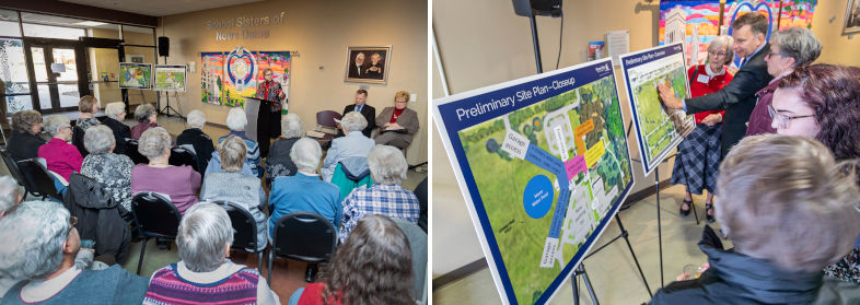 Two photos: 1. Woman at podium speaks to seated retired nuns and seniors; 2. Two easels display site maps for the housing development
