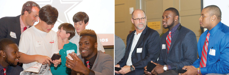 Photos of college athletes interacting with young fans and speaking with alumni at a fundraising event