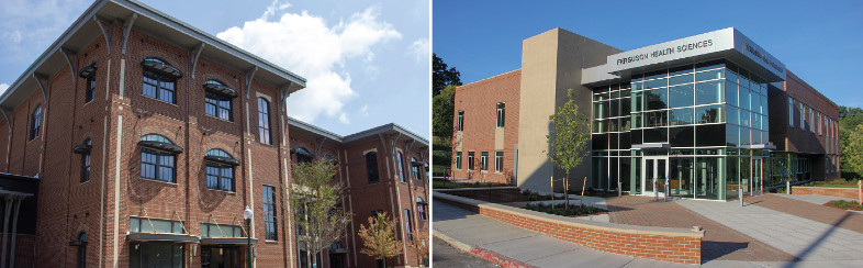 Photos of two new buildings at Mars Hill University