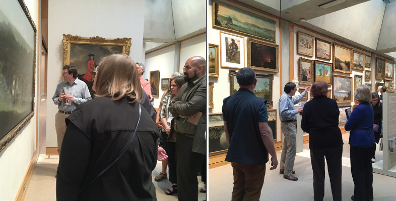 two photos of Tim Barringer guiding participants through the art collection