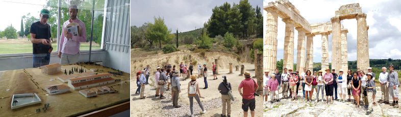 three photos: 1. seminar leader points to a model replica of a historical site; 2. participants examine broken columns; 3. participants pose standing in front of standing columns form an ancient stadium