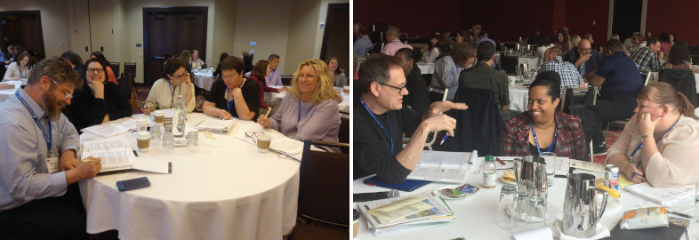 two photos of participants sharing ideas while seated at roundtables