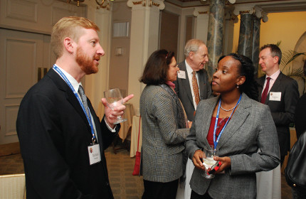 Scholarship alumni Richard Pressley and Delicia Reynolds mingle during the reception at the reunion weekend for Davies-Jackson scholars.