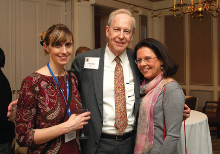 George Farr, chair of the Scholarship's U.S. Selection Committee, catches up with scholarship recipient Colleen Willenbring and selection committee member Yvonne Burt at the opening reception.