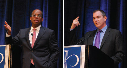 Two photos: Roger W. Ferguson, Jr., of TIAA, speakign from podium; Frank Bruni of the New York Times speaking from podium