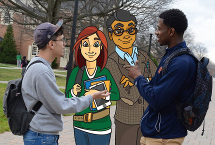 two students speaking with Libby and Art outside on campus