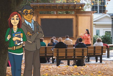Libby and Art stand beside an outdoor classroom with professor instructing students