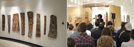 Two photos: 1. a collection of Papua New Guinea artifacts on a wall; 2. a speaker addresses an audience in front of the artifacts
