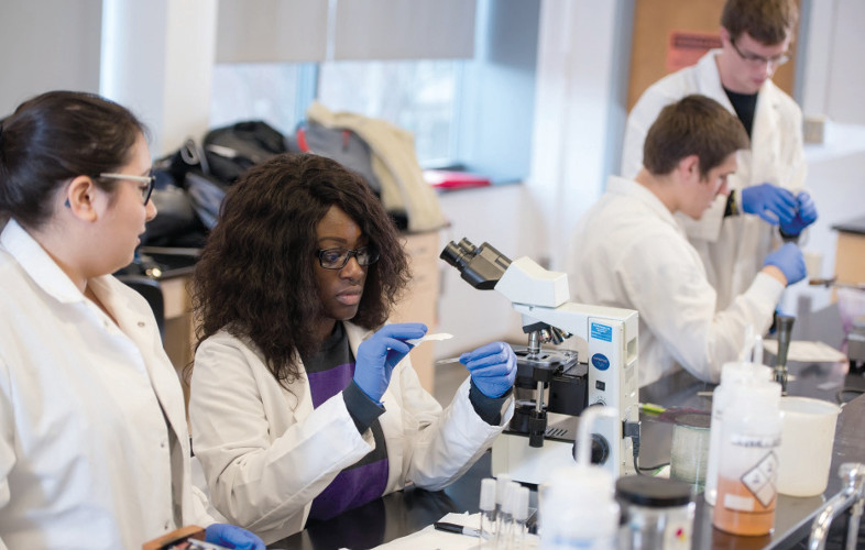 Students work in one of the labs within the Cleveland Clinic Laboratories