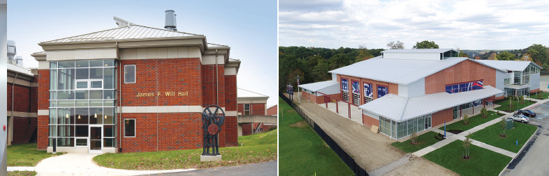 Two photos: 1. front view from outside of James F. Will Engineering and Biomedical Sciences Hall; 2. aerial view of Student Recreation and Fitness Center