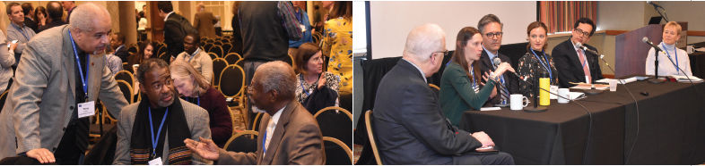 Two photos: 1. Two participants share ideas while seated with a third standing participant; 2. six presenters speak while seated at a head table
