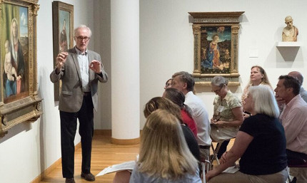 Gary Radke and seminar participants discuss Giovanni Bellini's Madonna and Child