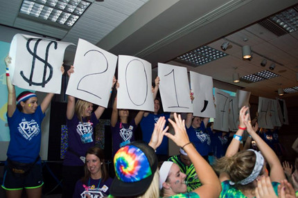 dance marathon students hold sign announcing the $201,717 raised