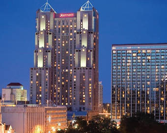 San Antonio Marriott Rivercenter skyline view at night