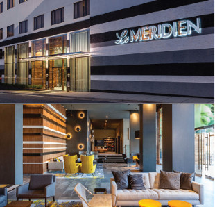 Views of Le Méridien Charlotte Hotel from entrance and from lobby