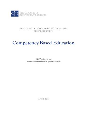 Competency-Based Education brief cover