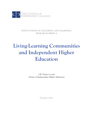 Living-Learning Communities brief cover