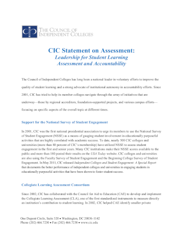 Statement on Assessment cover