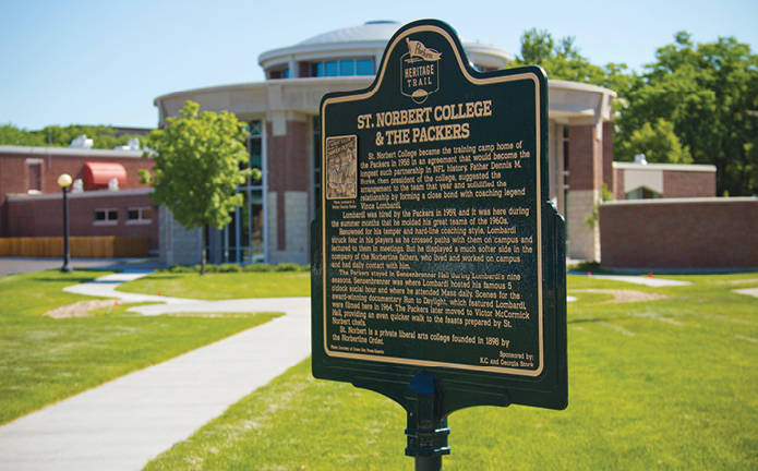 Heritage Trail sign describing St. Norbert College & the Packers