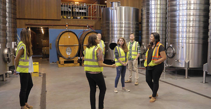 Student touring a wine production facility