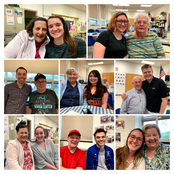 8-photo collage of students with older adults